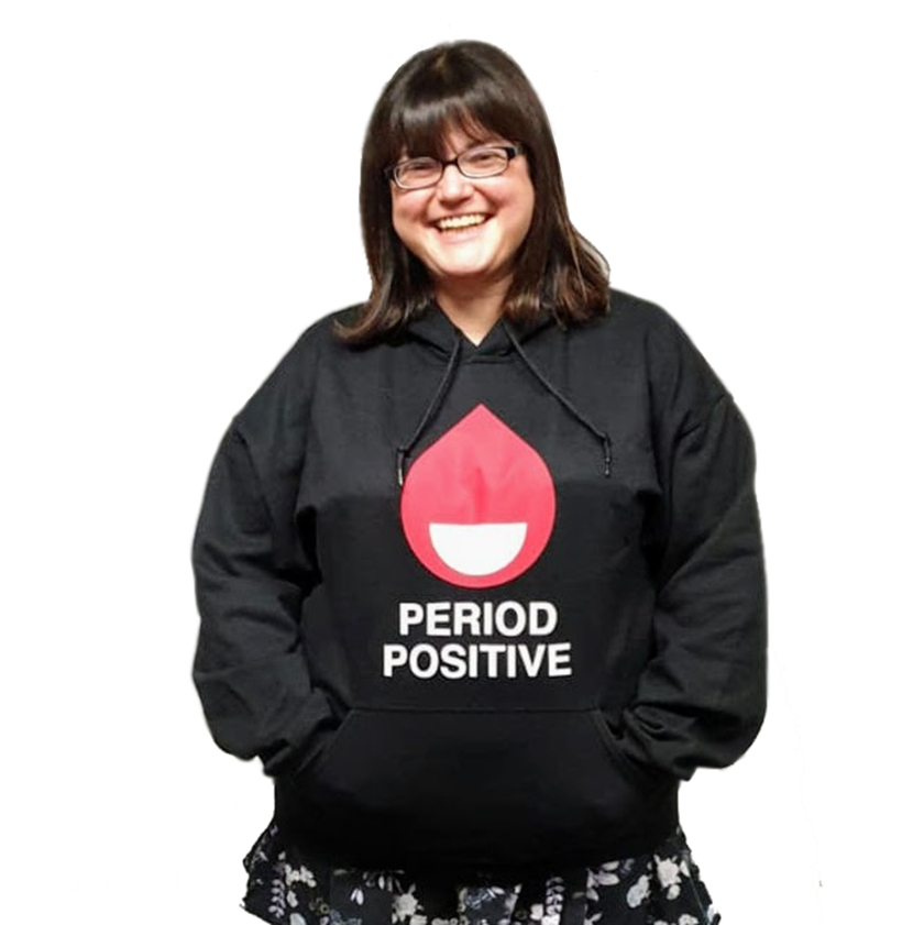 Chella Quint wearing the Period Positive hoodie